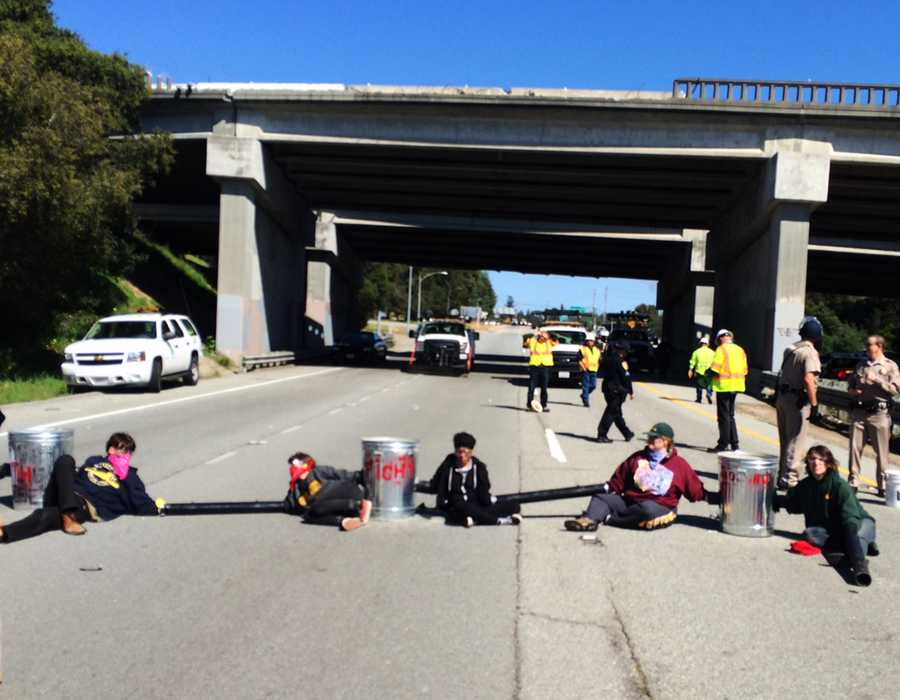 Highway 1 southbound near the fishhook was blocked by six UC Santa Cruz students for four hours Tuesday. They were all arrested. Here are their mug shots....