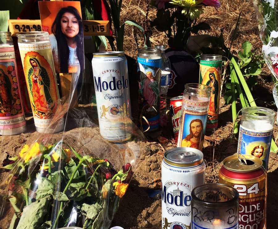 Mourners left cans of beer among prayer candles at a memorial.CHP officers said it appears alcohol or drugs were likely a factor in the collision, and open containers of alcohol were found in the car.