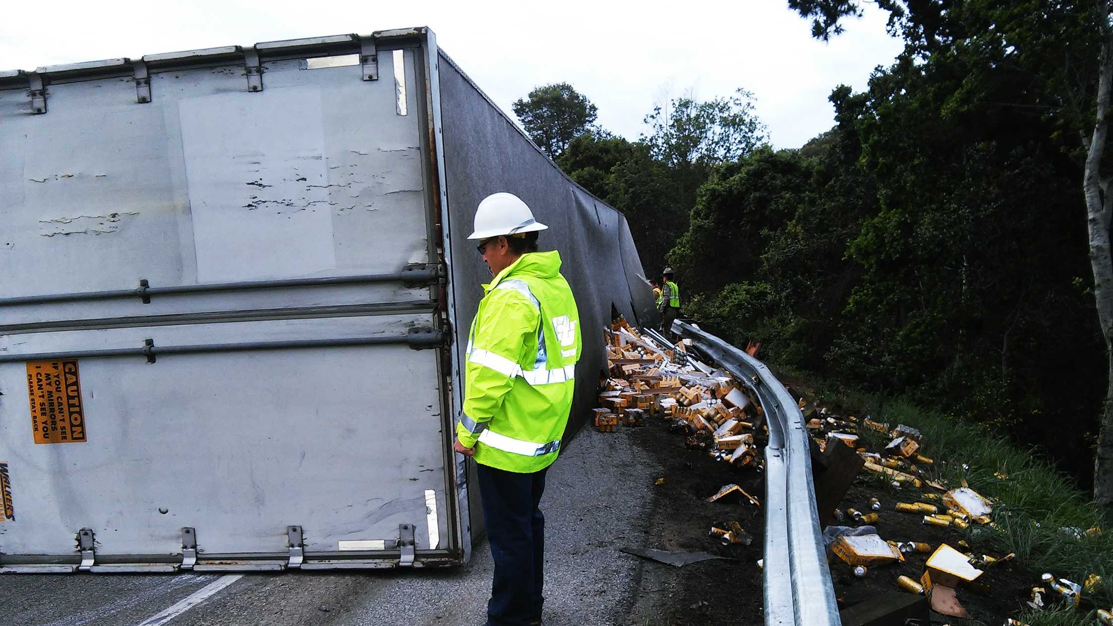 A big-rig crashed on the Highway 17-Highway 1 interchange in Santa Cruz on March 16, 2015.
