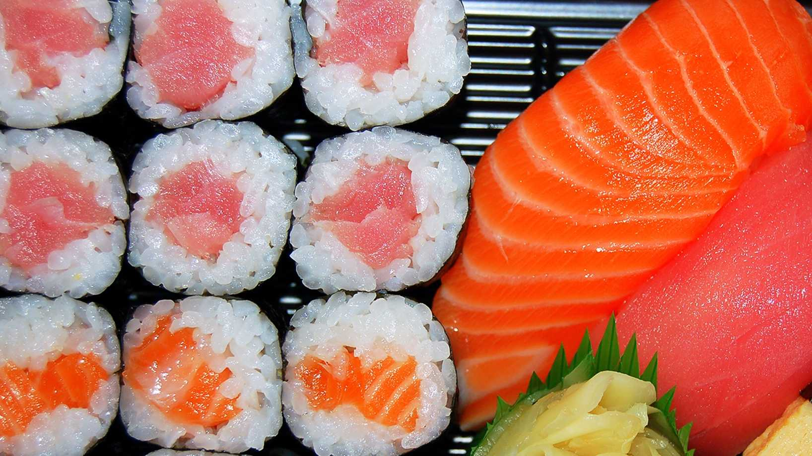 Sushi -- Raw seafood like sushi can contain harmful parasites and bacteria.