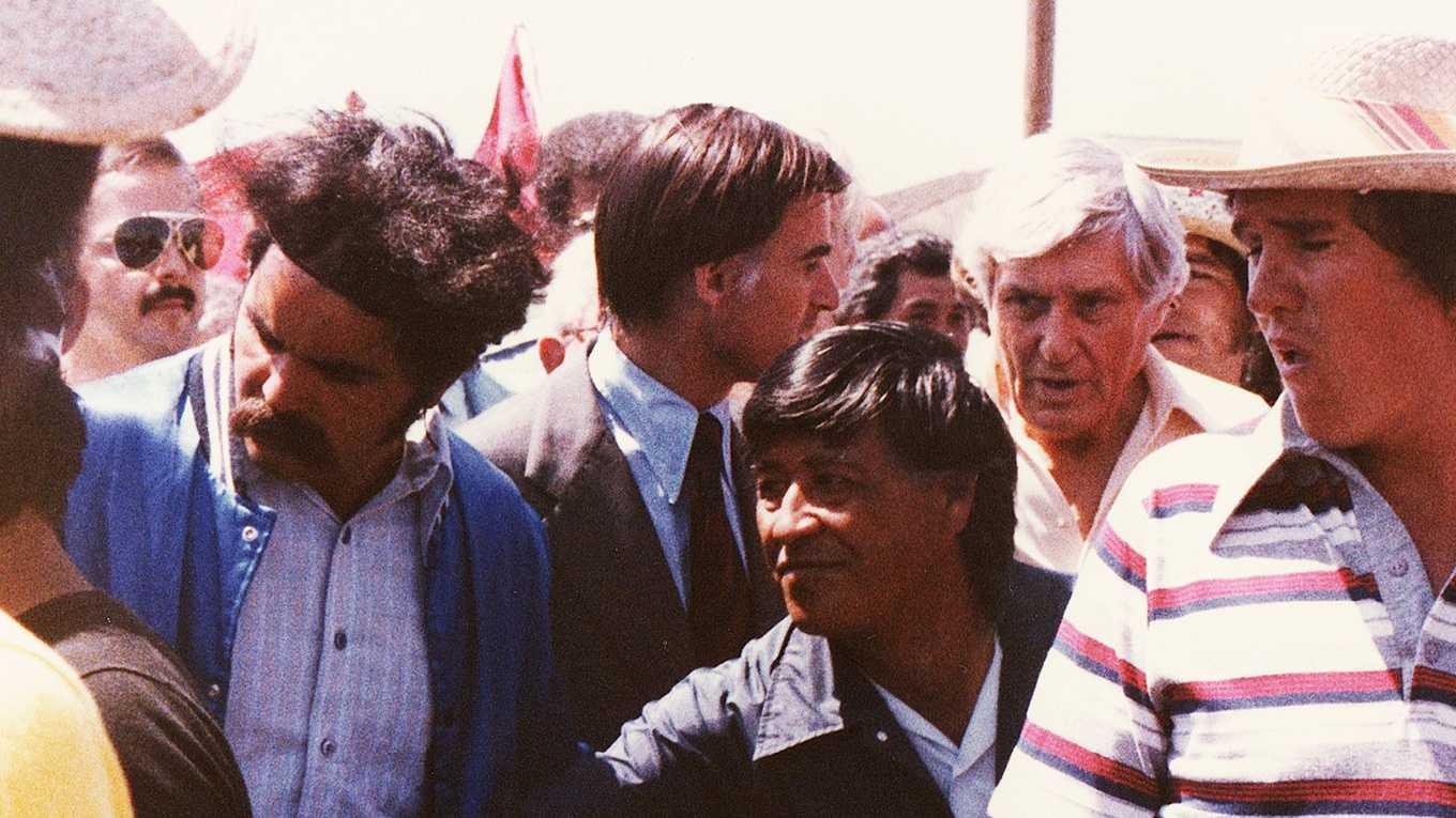 Cesar Chavez is seen marching through Salinas in 1979.