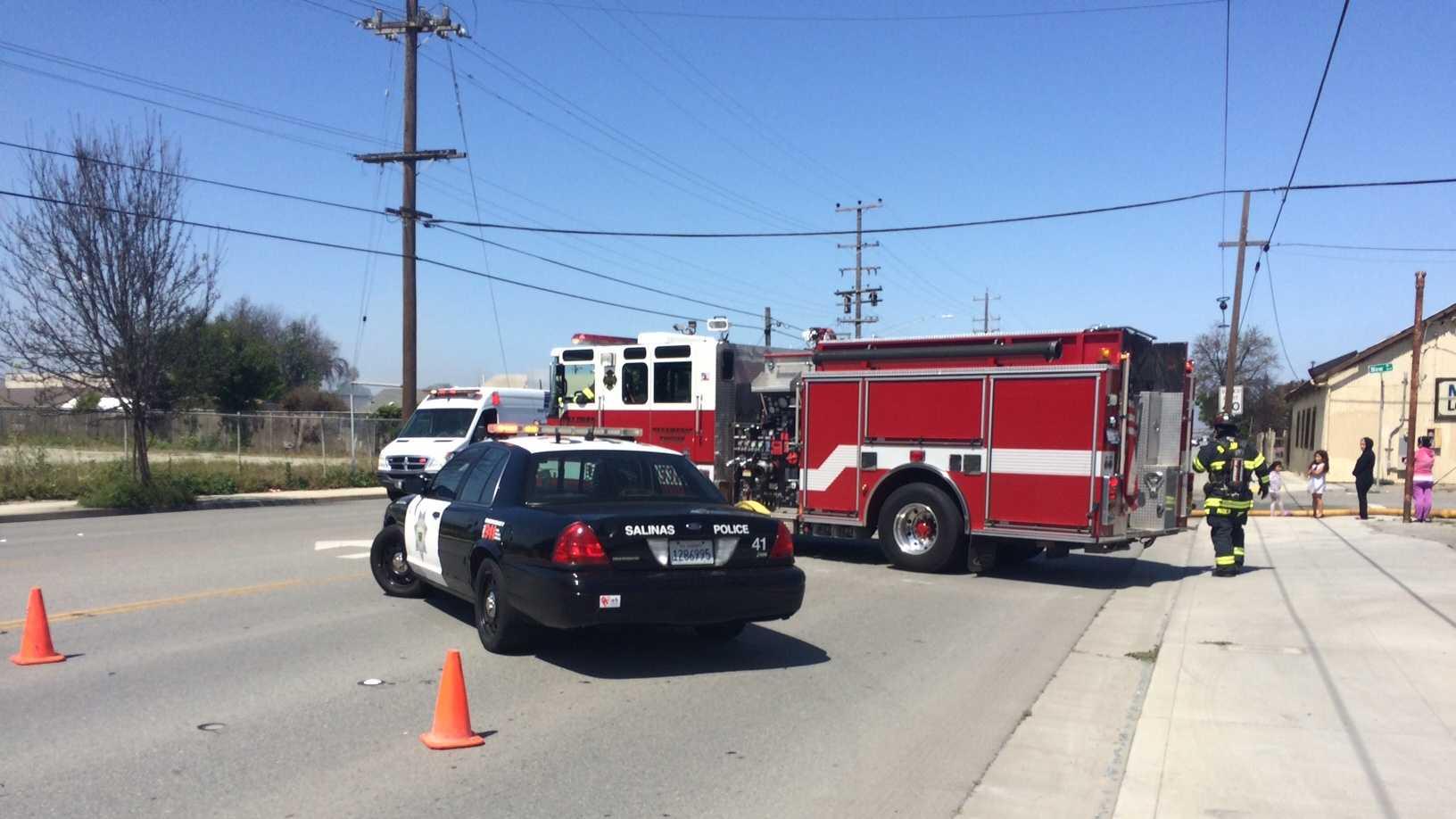 Salinas firefighters battle blaze on W. Market Street Friday morning