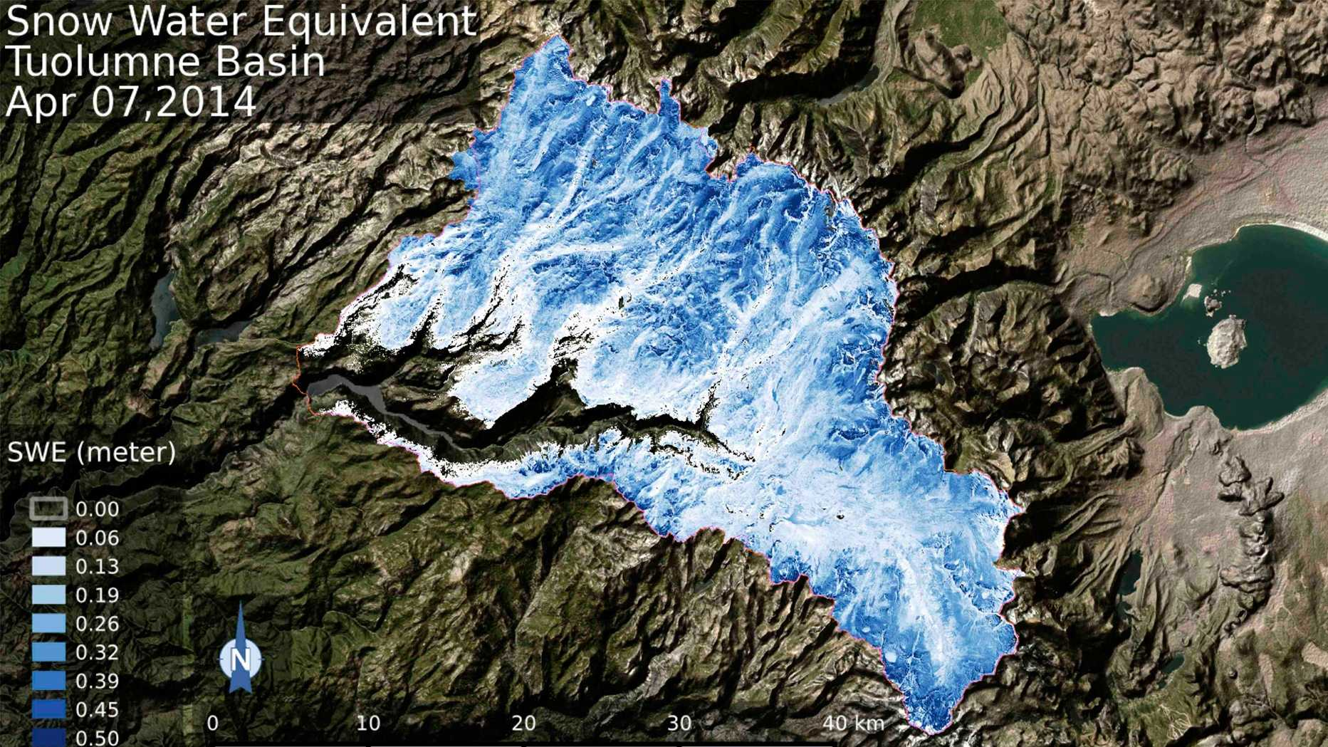 Spatial distribution of the total volume of water in the snowpack across the Tuolumne River Basin in March 2015 (bottom) and April 2014 (top) as measured by NASA's Airborne Snow Observatory.