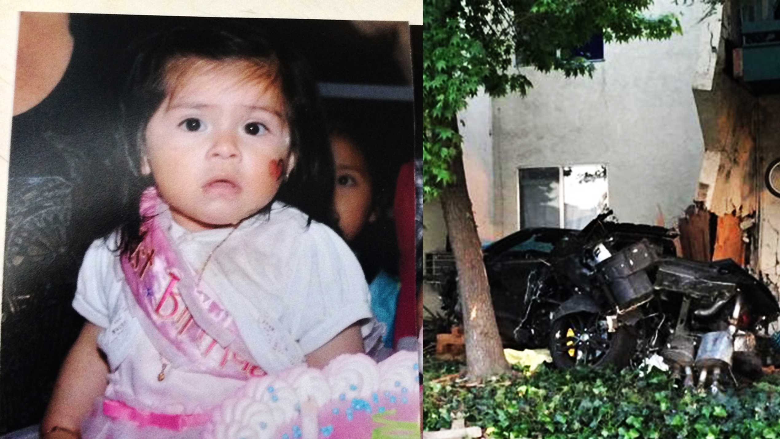 Baby Juli at her first birthday party, left, and the crash scene, right.