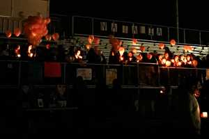 A candlelight vigil was held for the cheerleader on the school's football field Monday.