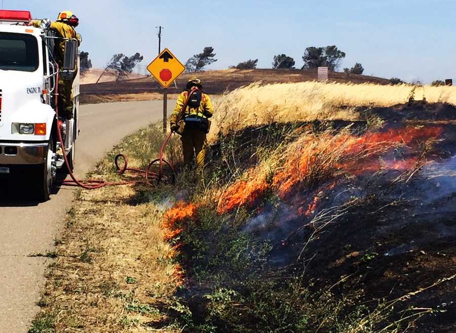 Forebay Fire - May 11: Three grass fires along Highway 152 in Merced County merged into a 275-acre wildfire near San Luis Reservoir.