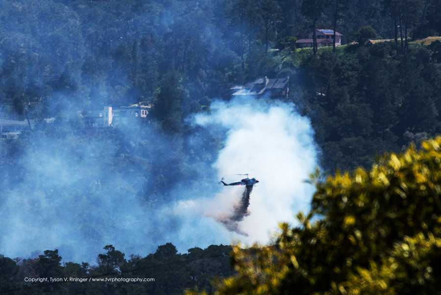 Monterey fire - April 15: Some large homes were threatened but not damaged.