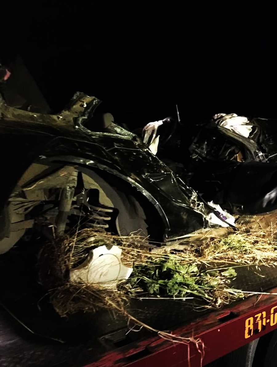 This Ford Mustang was reduced to a mangled heap of metal at the bottom of a 20-foot ravineat the intersection of Leavesley Road and New Avenue in Gilroy.
