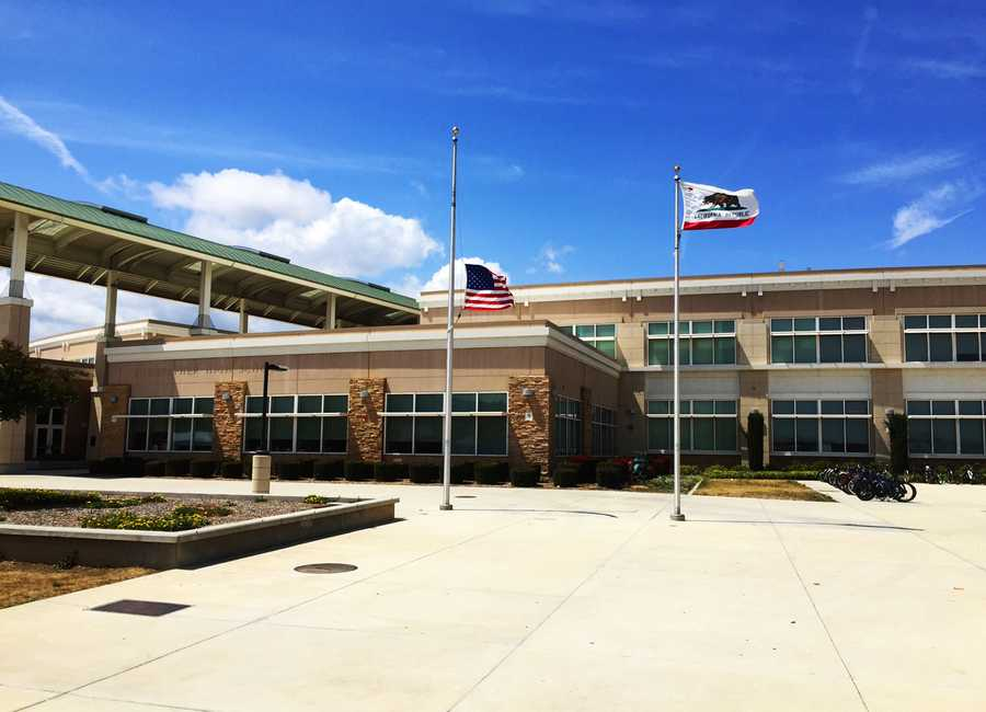 A U.S. flag at Christopher High's entrance was lowered to half-staff Wednesday.