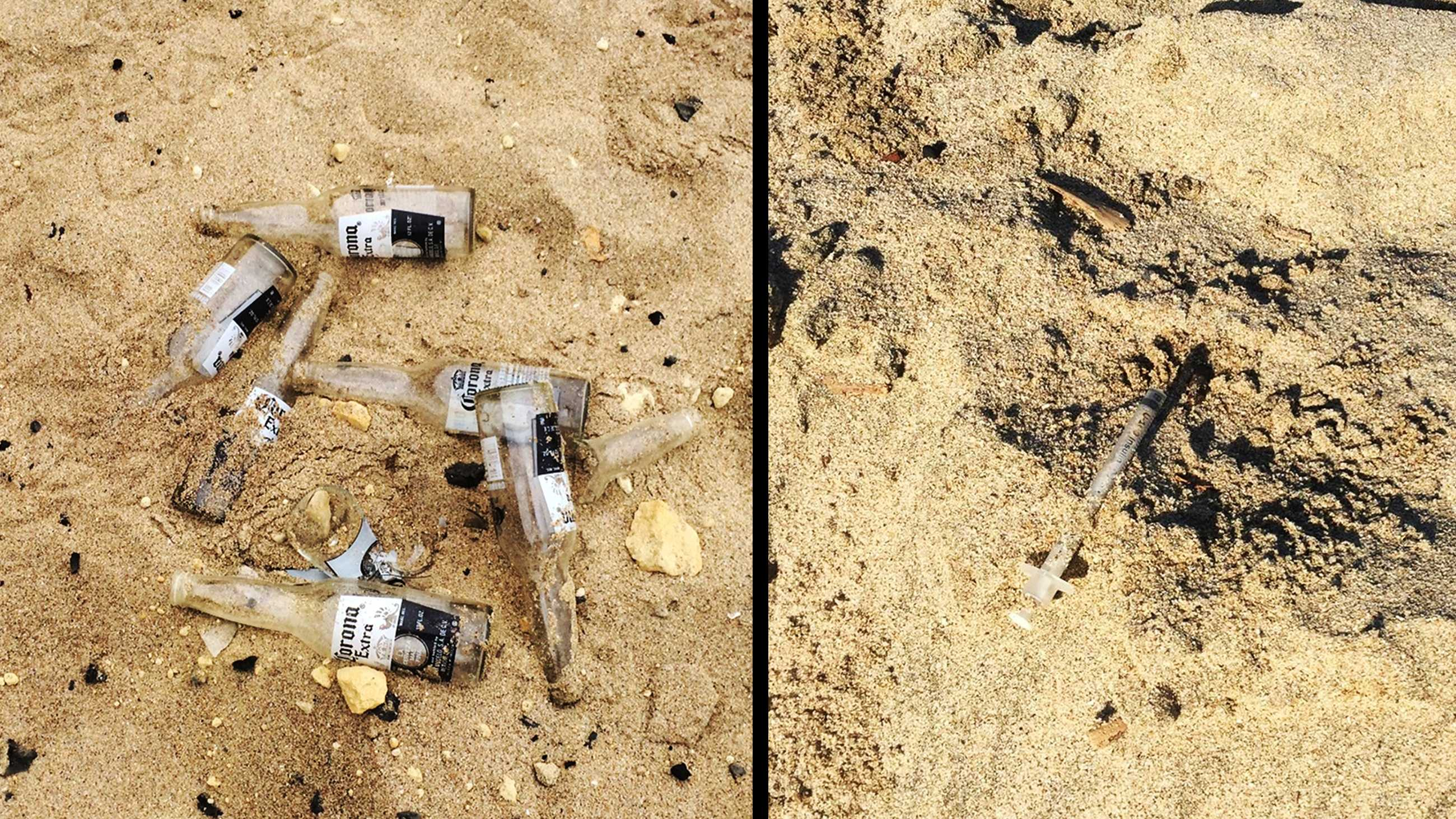 Beer bottles littered at Panther Beach, left, and a used drug needle found at Seabright Beach in Santa Cruz, right.