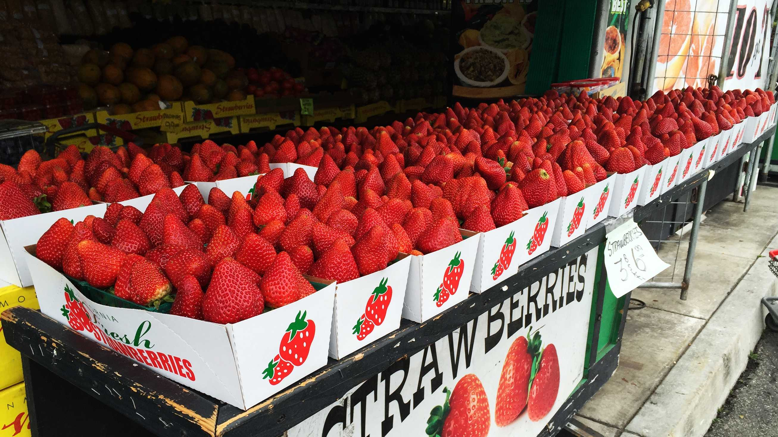 Strawberries for sale at a farm stand in Moss Landing.