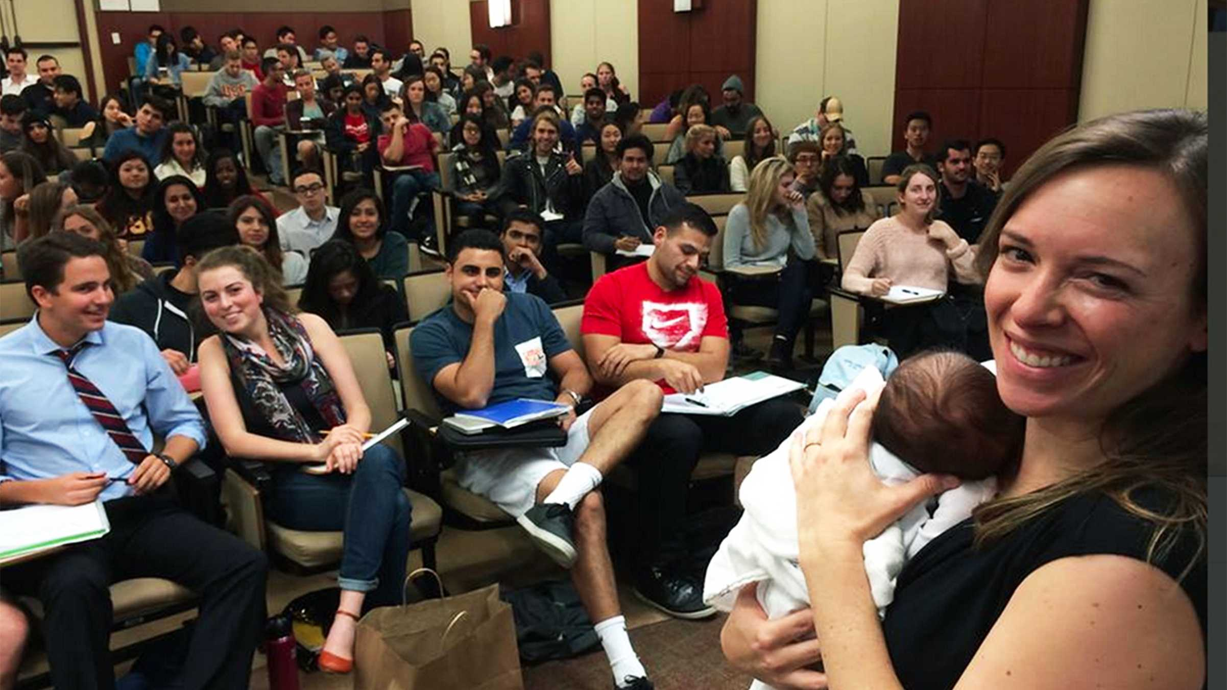 """Jessica Jackley posted this photo on Twitter Friday with the caption, """"Me & my then-3wk old lecturing (breastfed twice during talk!) at @USC. #workingmom"""""""
