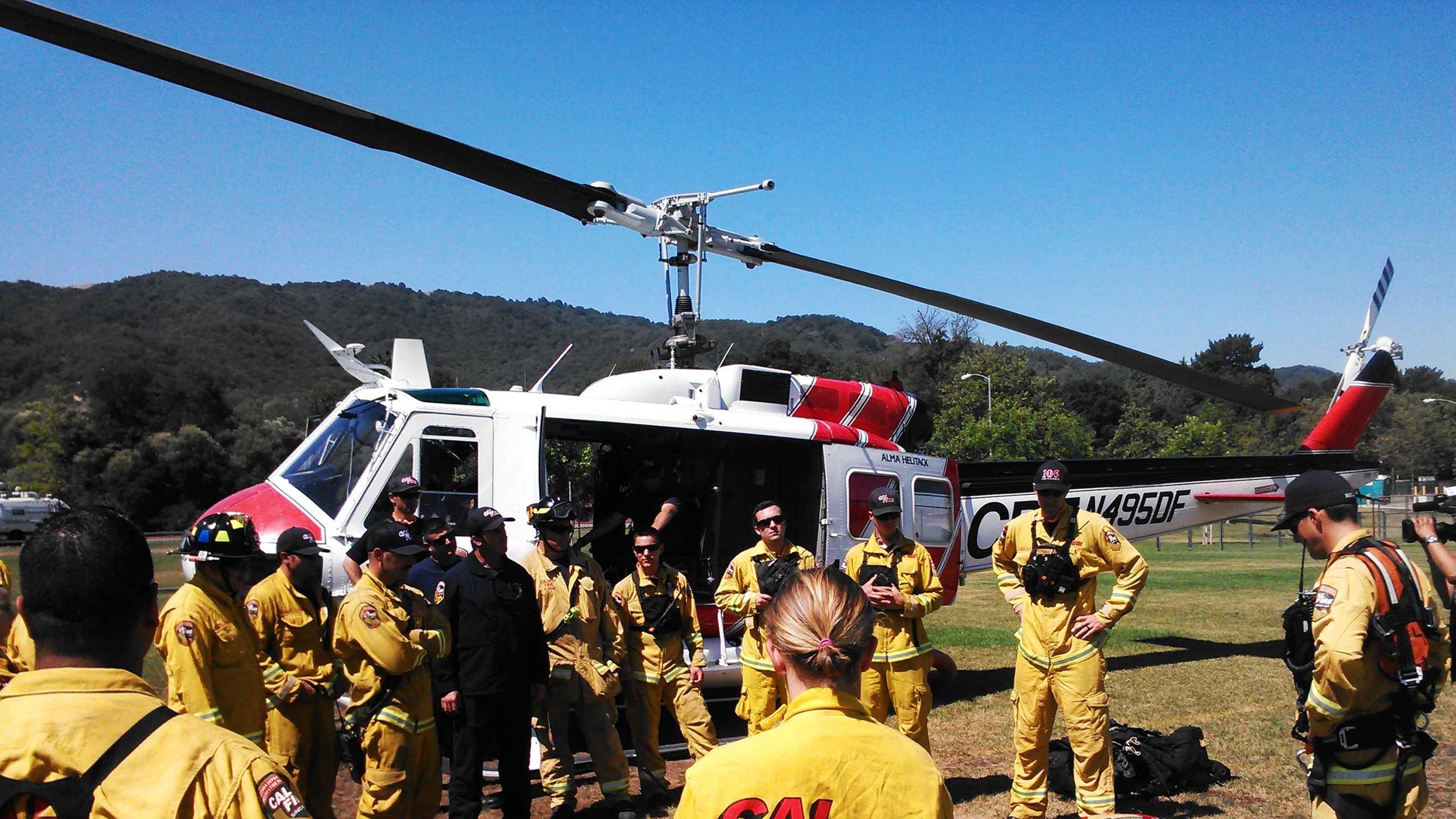 CalFire firefighters were out training in Gilroy Friday.  (June 12, 2015)