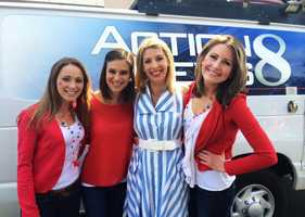 Traffic anchor Drea Blackwell, news anchor Lauren Seaver, anchor Brynne Whittaker, and reporter Caitlin Conrad and were in Monterey's Fourth of July parade.