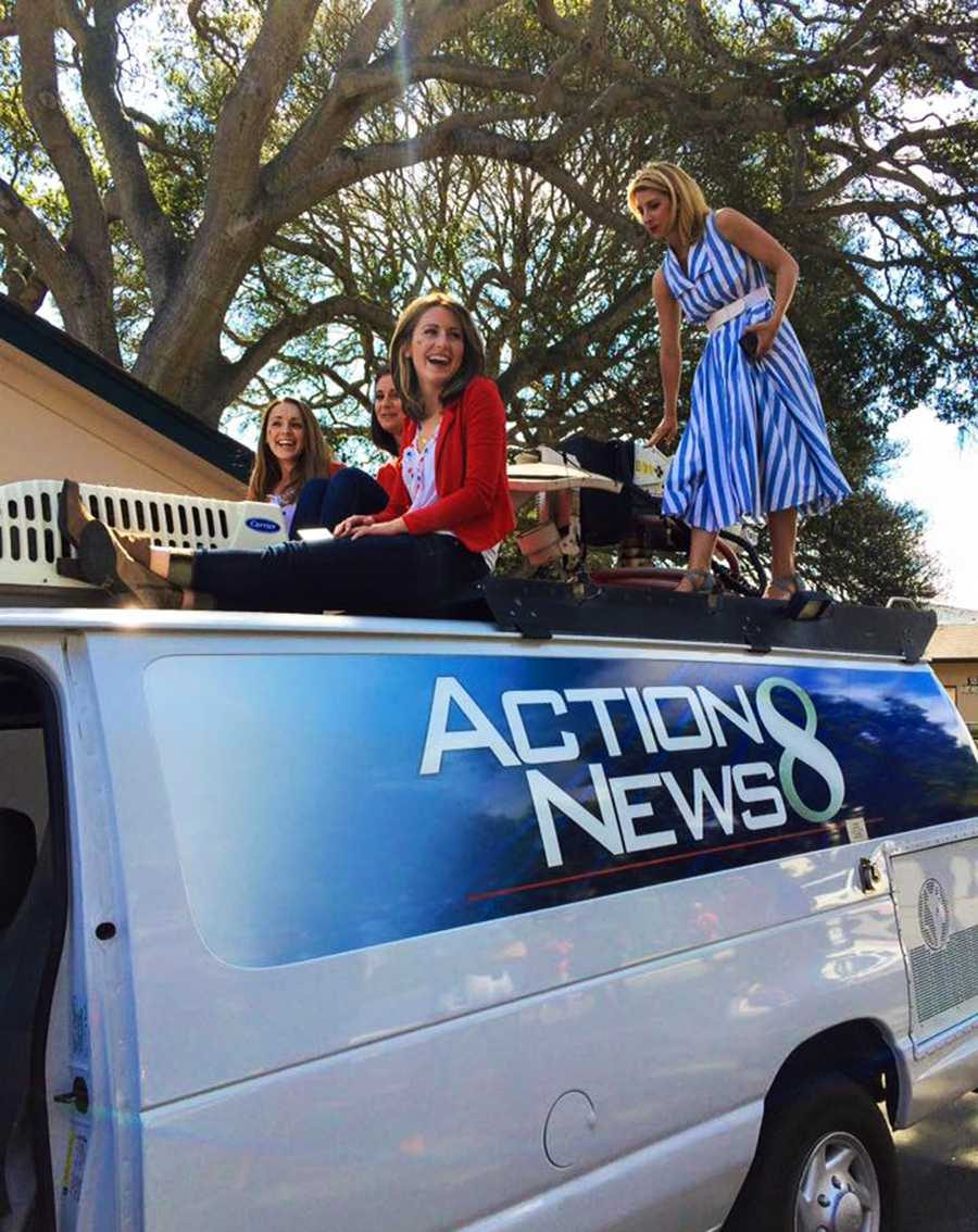 KSBW live truck surfing! Brynne Whittaker, Caitlin Conrad, Drea Blackwell, and Lauren Seaver had a blast in the Monterey 4th of July parade.