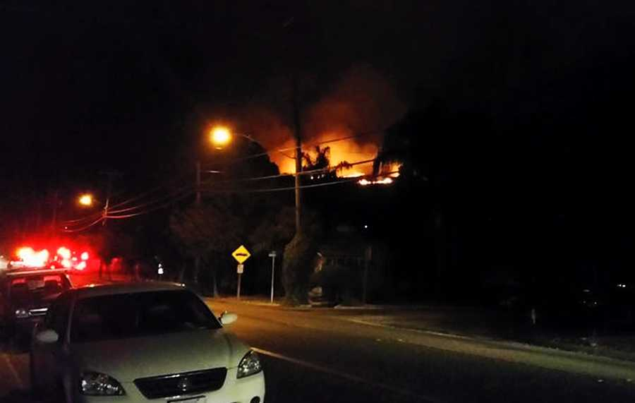 A fire ignited in Santa Cruz on Thurber Lane while illegal fireworks were being set off in the area.