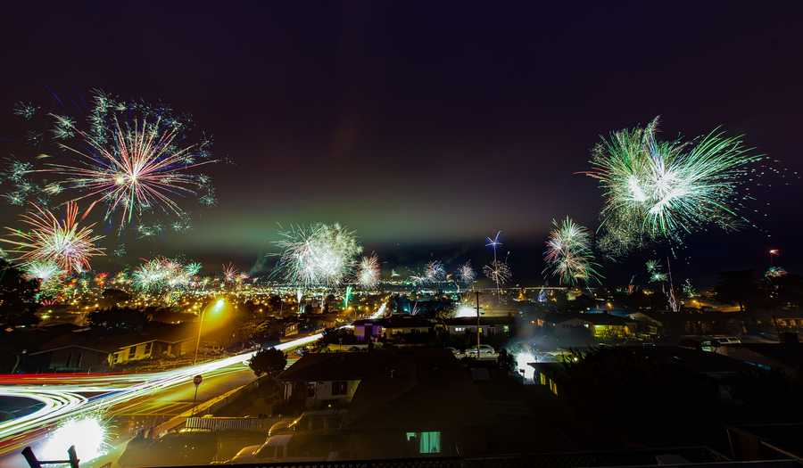 Professional photographer George Krieger shot this time lapse photo between 9:15 p.m. and 9:33 p.m. on the 4th of July in Seaside. Krieger stacked 66 images together.