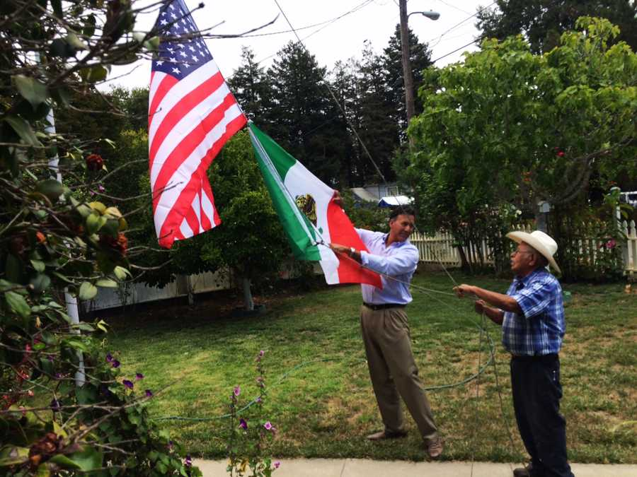 Homeowner Lazaro Reyes, 89, said he bought the flags to celebrate the U.S. for the Fourth of July, as well as his home country, Mexico. The elderly man made an honest mistake, not realizing his flag were both upside-down.