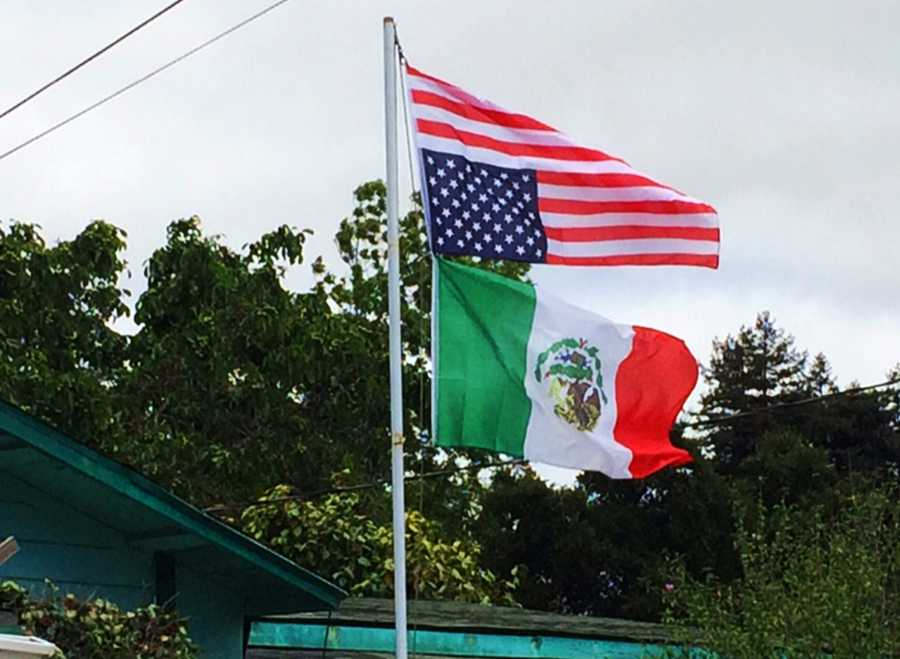 Reporter Felix Cortez went to the house to investigate, and his cameraman immediately noticed the Mexican flag was also hung upside-down.