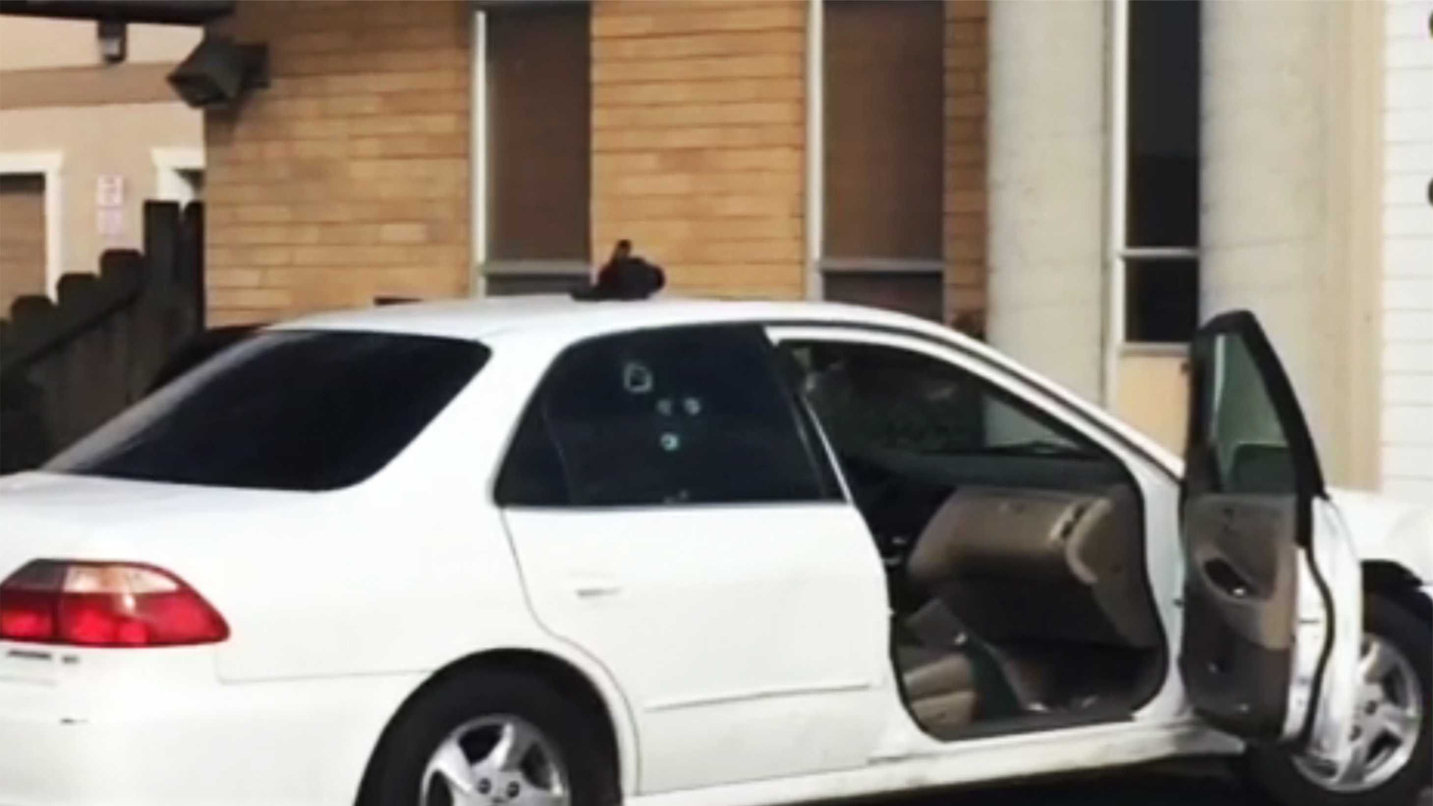 Bullet holes are seen on the victim's car.