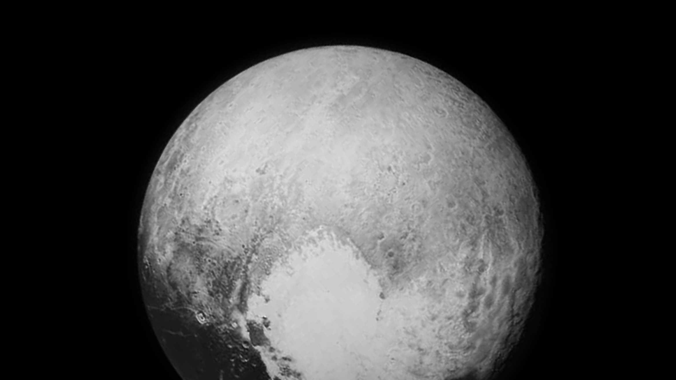 This is the most detailed image sent to Earth on July 13 before the spacecraft's closest approach to Pluto on July 14.