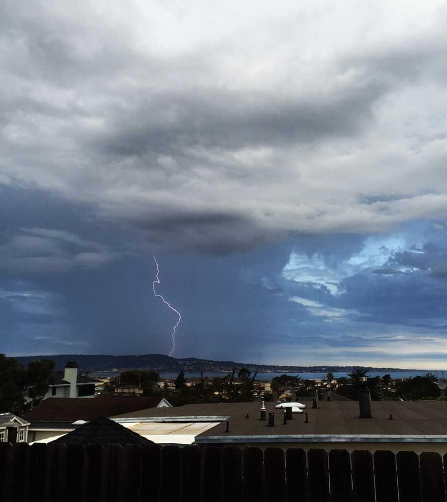 J.R. Sosky shot this photo from Seaside of lightning striking Monterey. (July 19, 2015)