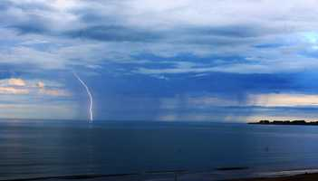 Morgan Bagnall captured lightning and rain over the Monterey Bay.  (July 19, 2015)