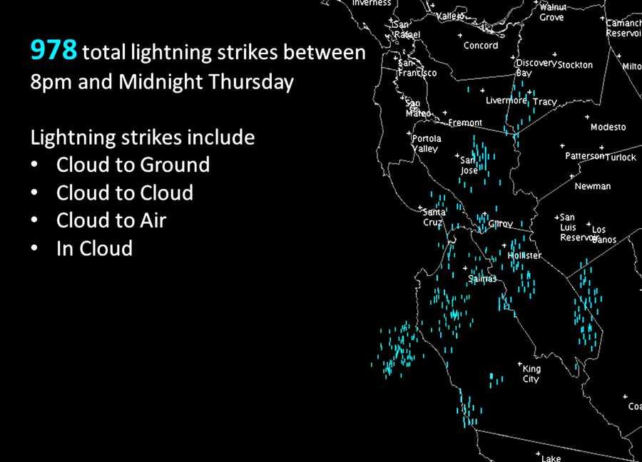 Between 8 p.m. and midnight Thursday, the National Weather Service recorded nearly 1,000 lighting strikes.