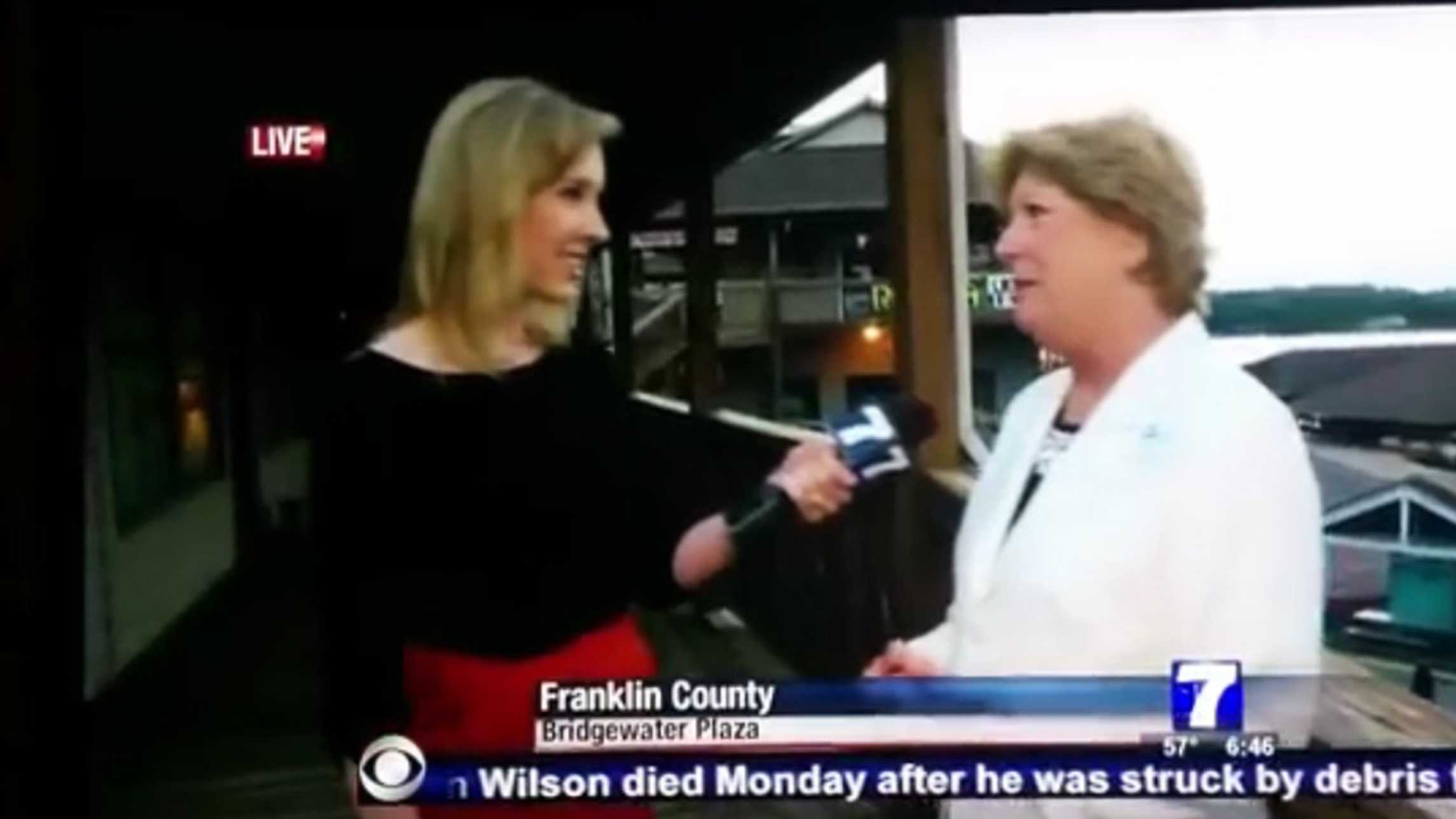 WDBJ reporter Alison Parker is seen on-air seconds before she was shot.