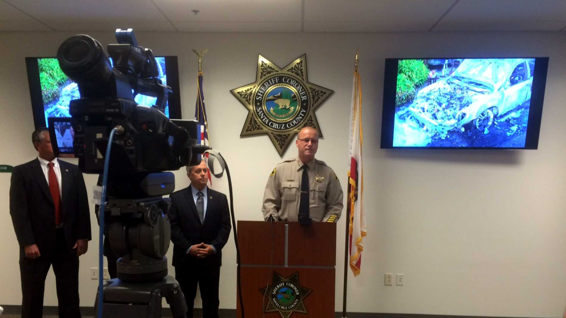 Santa Cruz County Sheriff, Jim Hart announcing the arrests.