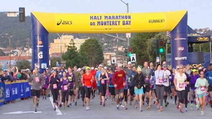 Runners will take the course of the 13th annual Big Sur Half Marathon on Sunday in Monterey Bay.