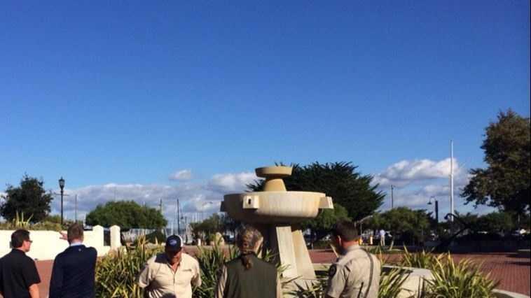 Plaza fountain with team.JPG