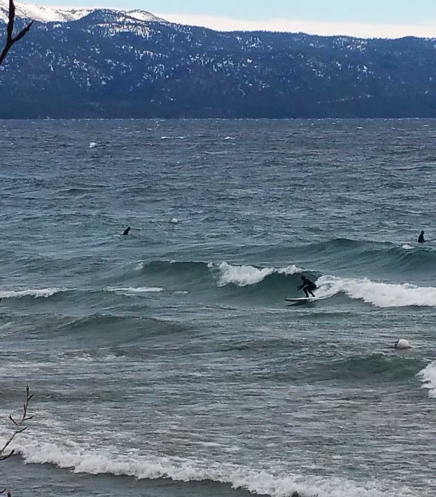 Cold water warriors surfed Lake Tahoe during a chilly storm on Dec. 3, 2015.