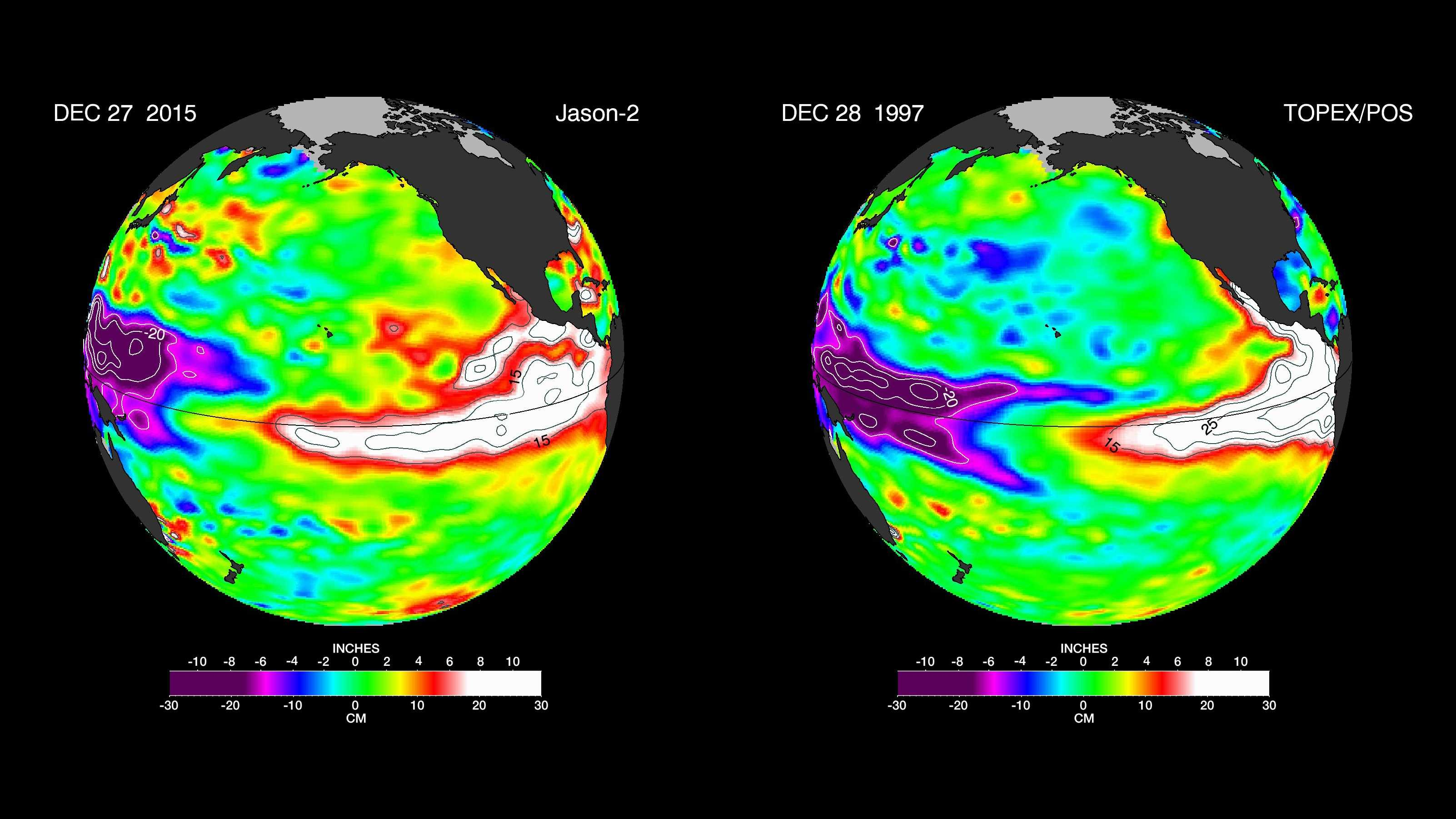 The latest satellite image of Pacific sea surface heights from Jason-2 (left) differs slightly from one 18 years ago from Topex/Poseidon (right). In Dec. 1997, sea surface height was more intense and peaked in November. This year the area of high sea levels is less intense but considerably broader.