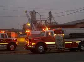 A grain fire sent flames shooting 75 feet in the air Thursday morning in the Turlock area (Jan. 26, 2012).