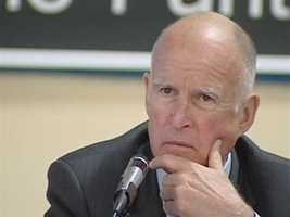 Governor Jerry Brown attends a town hall meeting at an Elementary School in Stockton.