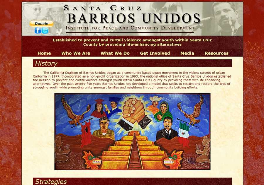 Barrios Unidos is a community-based peace movement and nonprofit organization dedicated to preventing youth street violence in Santa Cruz.