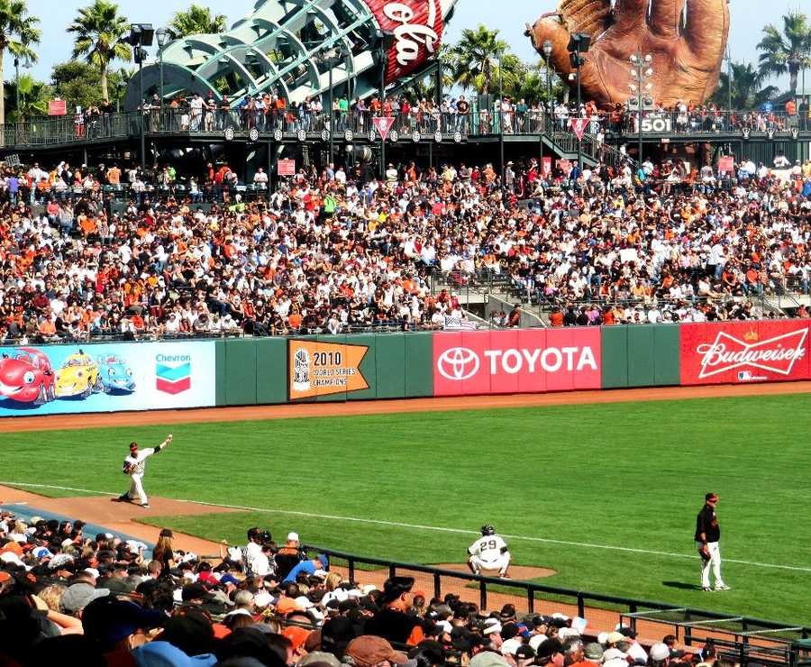 Barry Zito is not the only tall lefty on the Giants' pitching staff. Pitcher Dan Runzler is seen here warming up.