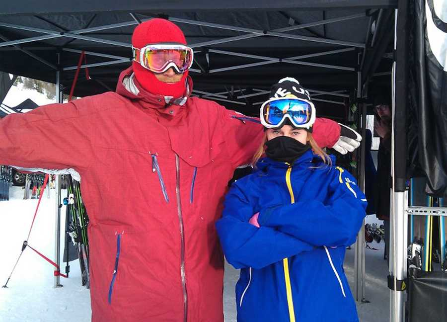 Townsend, left, graduated from Aptos High School in 2001. He has also survived avalanches but was not with his wife, right, and the 12 other skiers on Sunday.
