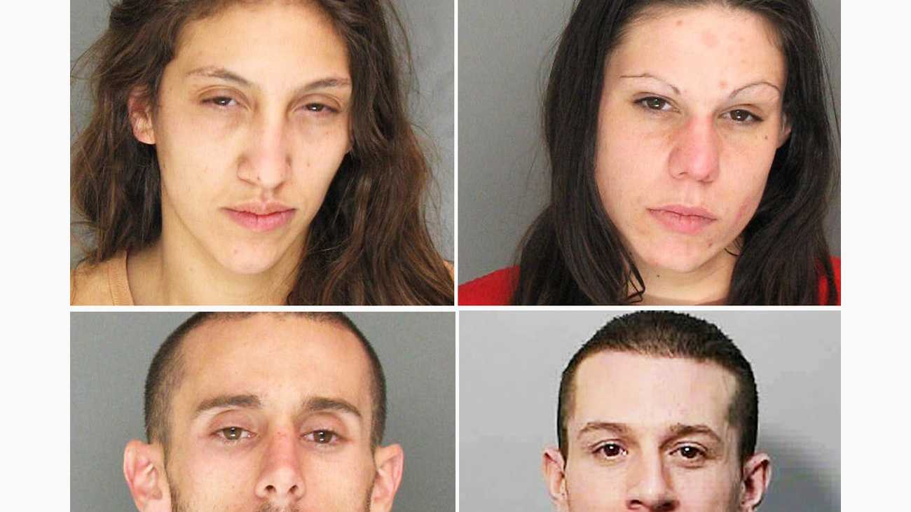 Sara Marko, top left, Brittany Beus, Justin Gorman, bottom left, and Nick Beus are seen in police mug shots.