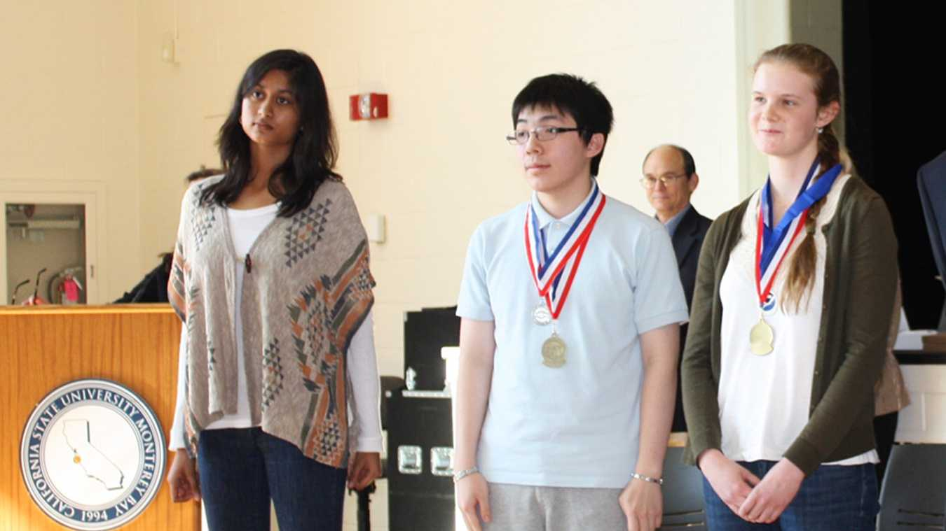 Aradhana Sinha, left, Jimmy Line center, and Ailies Dooner, right, won the top three places at the 2012 Monterey County Science and Engineering Fair.