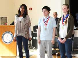 We are the champions! Aradhana Sinha, left, Jimmy Line center, and Ailies Dooner, right, won the top three places at the 2012 Monterey County Science and Engineering Fair.