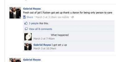 Reyes was also arrested on March 2 by Salinas Police Violence Suppression Unit officers on suspicion of selling drugs.His Facebook status on March 3 announced he was released from jail.But he was not free for long, and was re-arrested on March 5 by undercover police officers who said he tried to sell them a handgun.