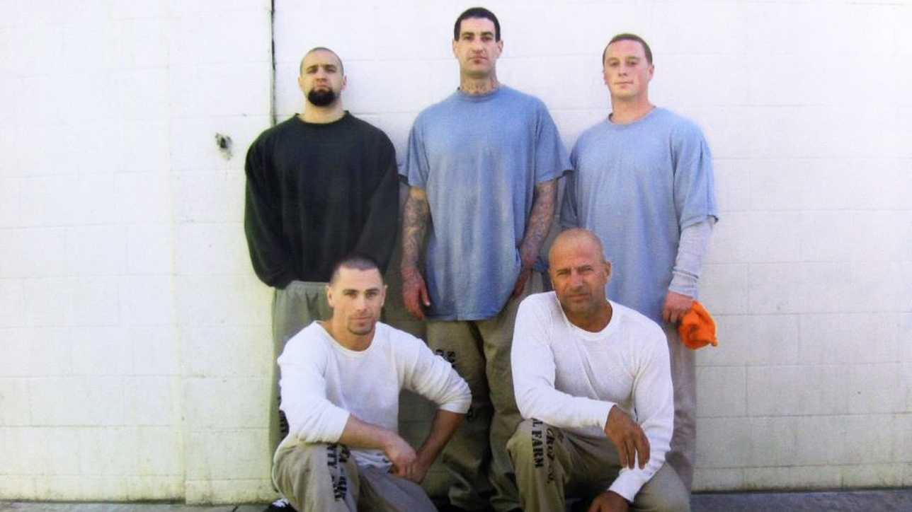 Anthony Ruffo, far lower right, poses with fellow inmates in the Santa Cruz County Jail's Watsonville facility.