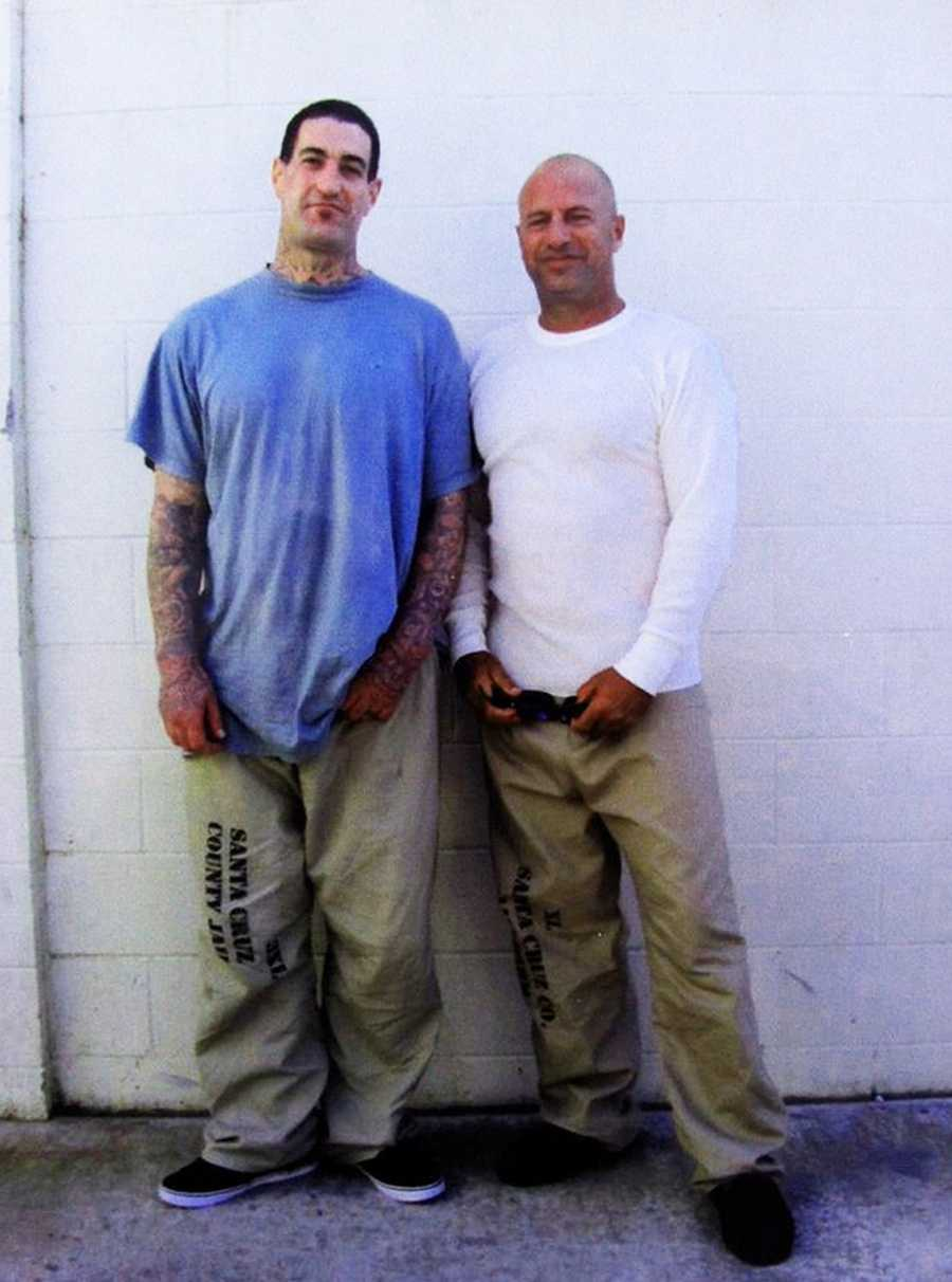 Anthony Ruffo, right, poses with Matt Coletta, 38, of Aptos, in the Santa Cruz County Jail's Watsonville facility.