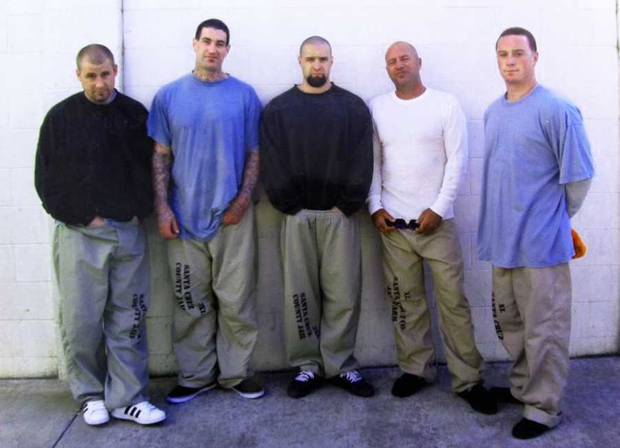 Anthony Ruffo, second from right, poses with fellow inmates in the Santa Cruz County Jail's Watsonville facility.