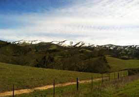 Snow blankets Tassajara Road above Carmel Valley. (March 19, 2012)