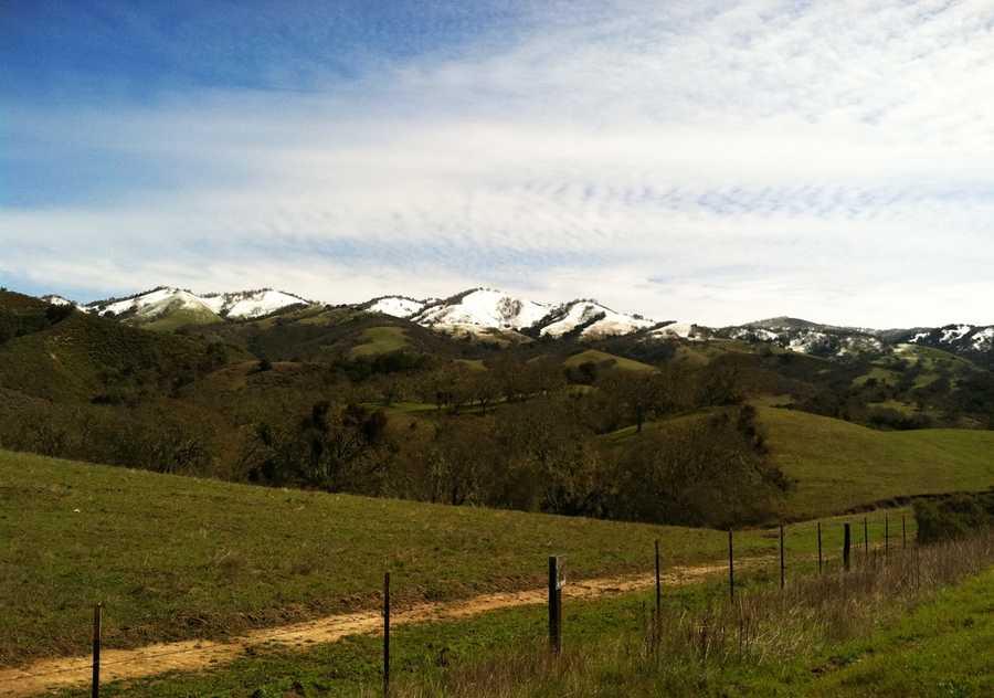 Snow blankets Tassajara Road above Carmel Valley. (March 19, 2012)