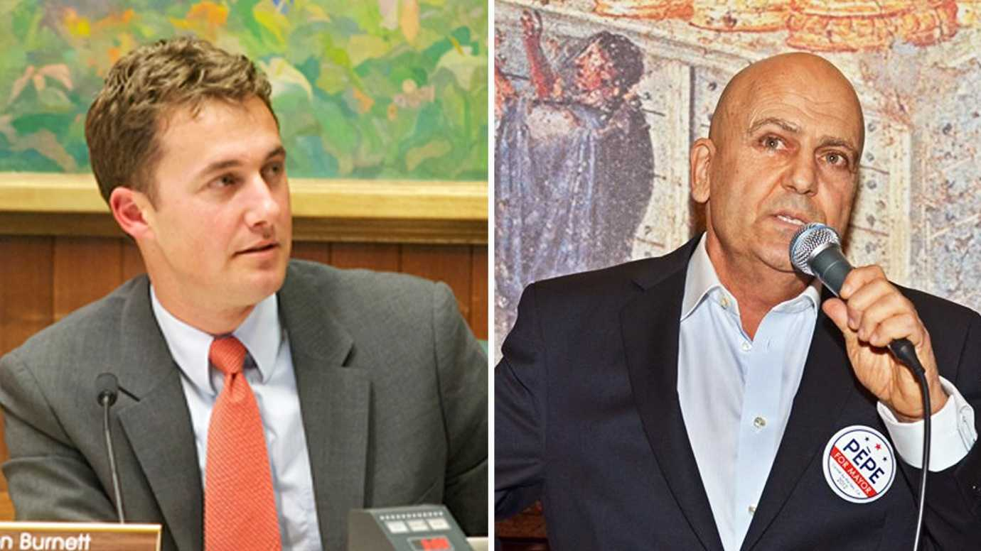 Jason Burnett, left, and Richard Pepe are running for Carmel Mayor.