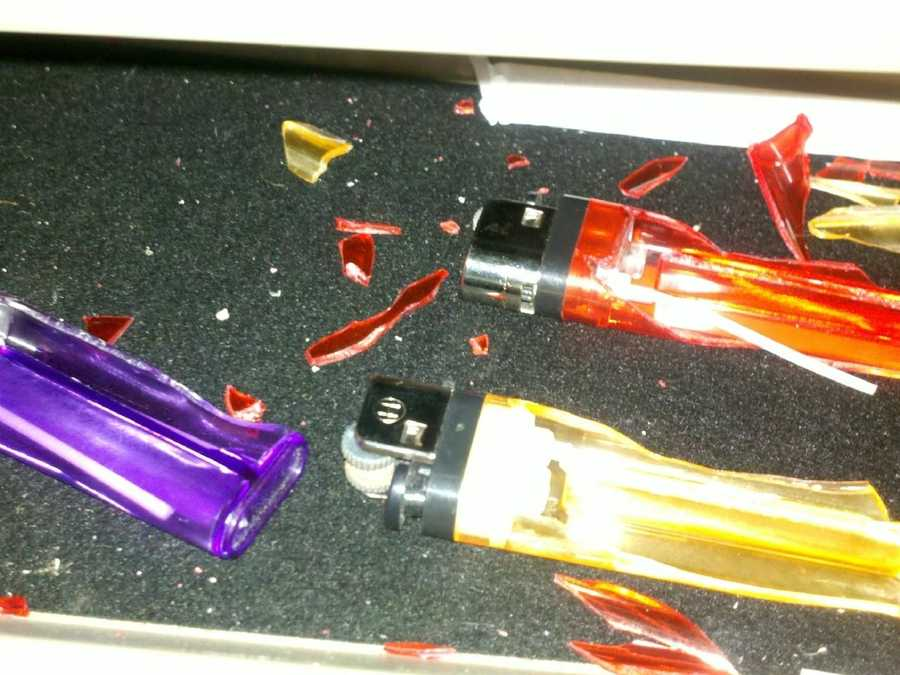 These lighters exploded after they were left in a hot car.